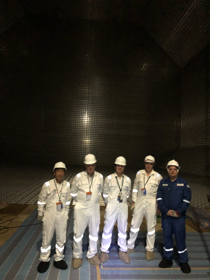The full team inside the LNG storage tanks in the hull of the FSRU.