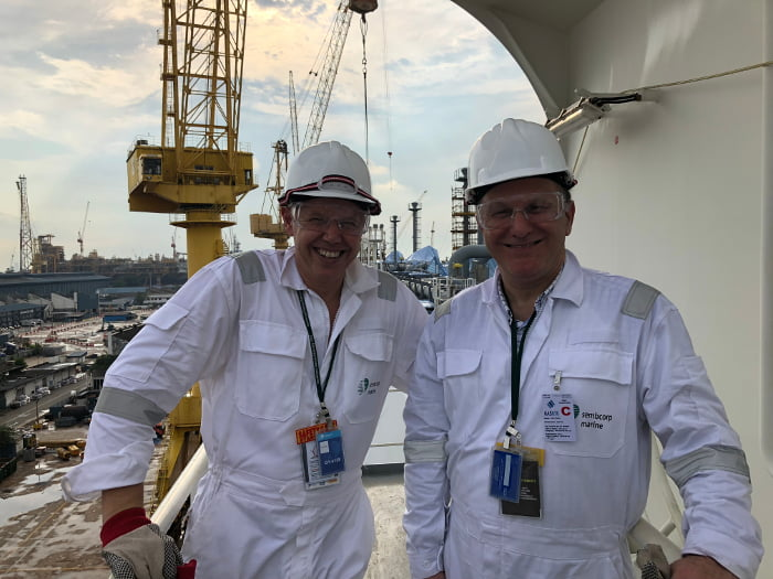 AIE CEO, James Baulderstone and Project Director, Keith Walker inspecting an FSRU in drydock in Singapore.