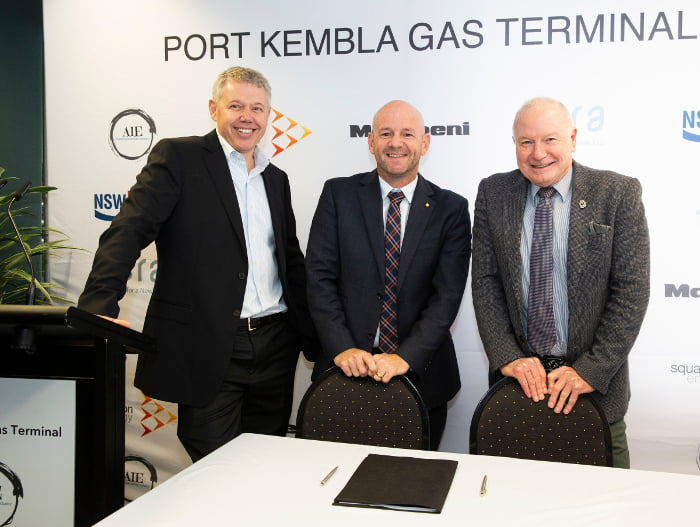 At the announcement of the Port Kembla Gas Terminal site: AIE CEO, James Baulderstone; the Hon. Niall Blair, MLC – Minister for Primary Industries, Regional Water and Minister for Trade and Industry; and Lord Mayor of Wollongong, Gordon Bradbery AM.